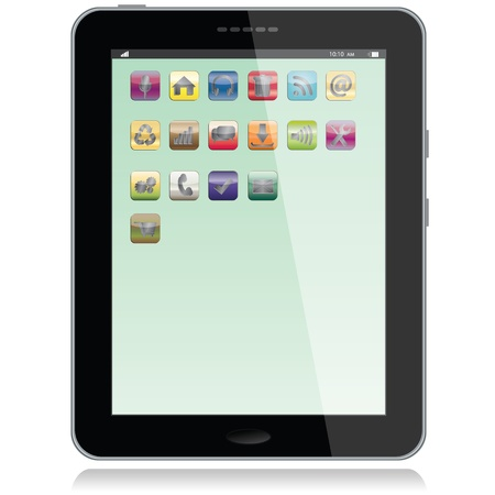 portrait view illustration of a tablet pc with apps icons on screen,isolated in white background. Stock Vector - 13873020