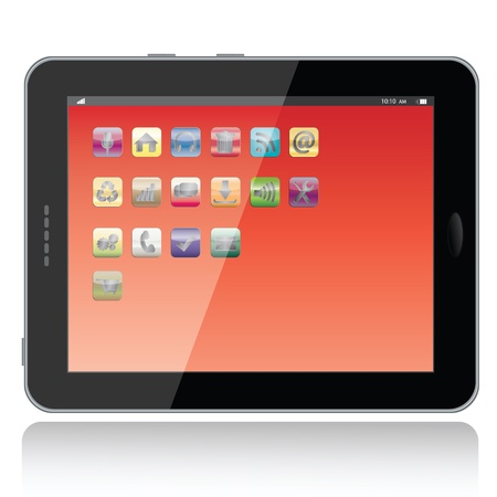 landscape view illustration of a tablet pc with apps icons on screen,isolated in white background.   Vector