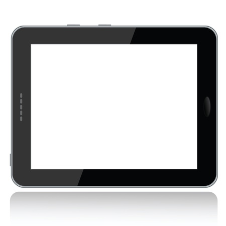 landscape view illustration of a tablet pc with white screen for copyspace,isolated in white background.   Stock Vector - 13873015