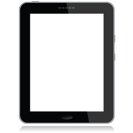 portrait view illustration of a tablet pc with white screen for copyspace,isolated in white background. Stock Vector - 13873014