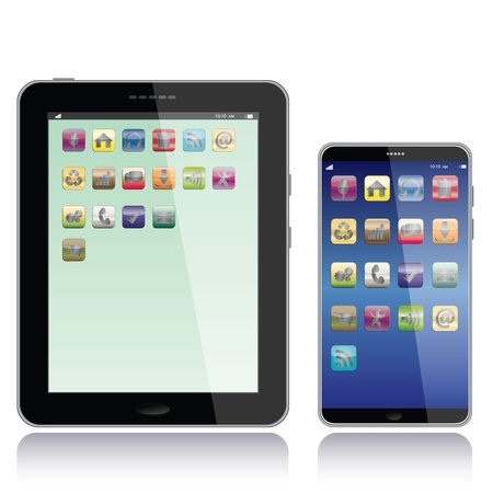 android tablet: portrait view illustration of a tablet pc and smart phone with apps icons on screen,isolated in white background.