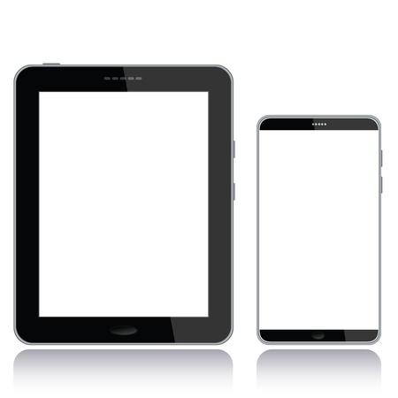 흰색 배경에서 격리 copyspace에 대 한 흰 스크린을 가진 태블릿 PC와 스마트 폰의 세로보기 그림입니다.