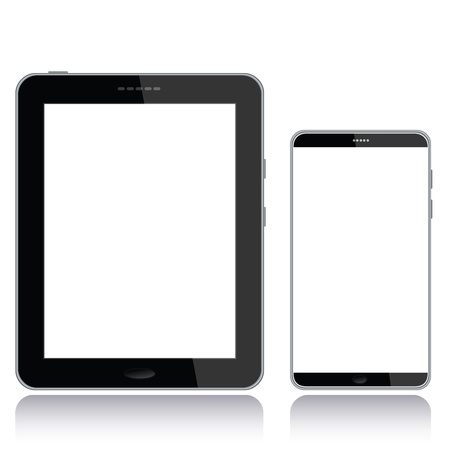 electronic device: portrait view illustration of a tablet pc and smart phone with white screen for copyspace,isolated in white background.