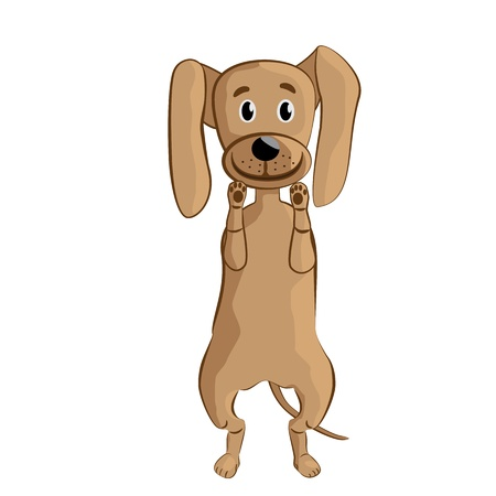 illustration of a funny cheerful dog, standing, doing tricks. isolated in white background. Vector