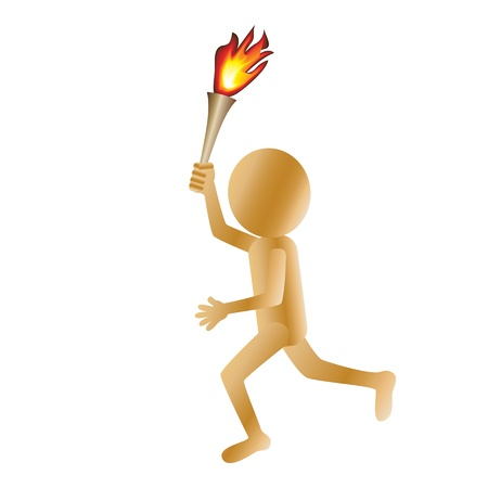 burning man: illustration of a running golden 3d man carrying a torch isolated in white background. Illustration
