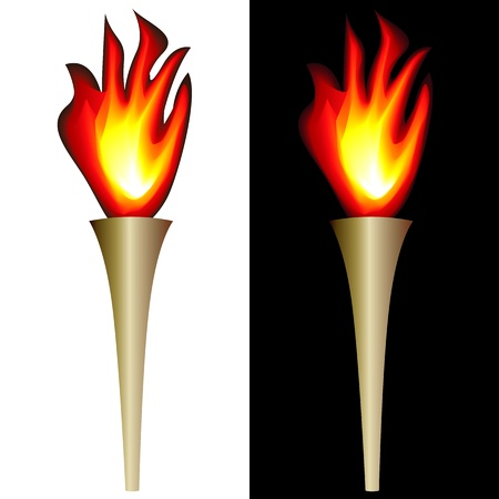 illustration of torch with flame isolated in white, black backgrounds. Vector