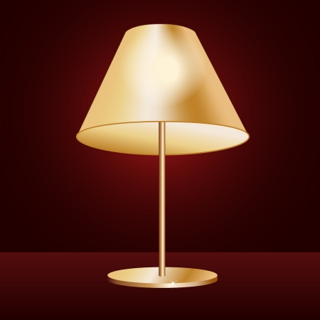 illustration of realistic lampshade in dark red background. Vector