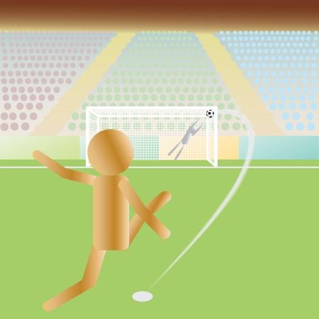 intense: illustrazione di un calcio, l'attaccante di calcio e uno, il portiere portiere in un calcio di rigore intenso. Vettoriali
