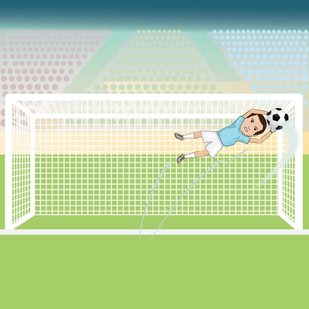 illustration of a goal keeper saving a soccer ball on a possible goal  Vector