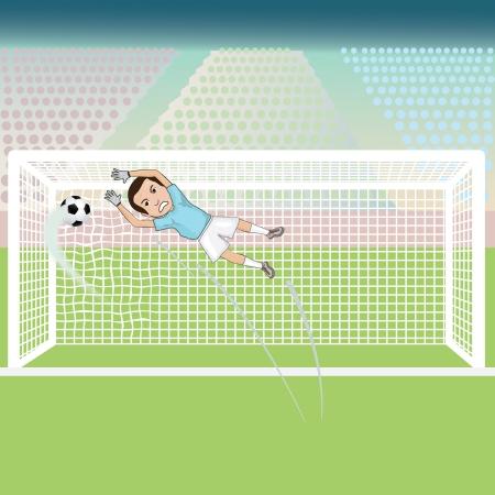 illustratie van een keeper niet redden van de voetbal, waardoor een doelpunt voor de tegenstander