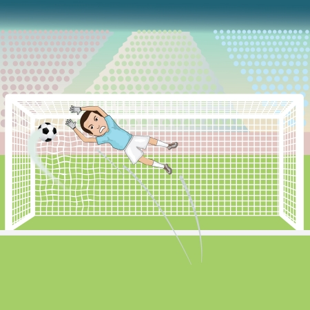 goal keeper: illustration of a goal keeper failed saving the soccer ball, thus giving  a goal score for the opponent  Illustration