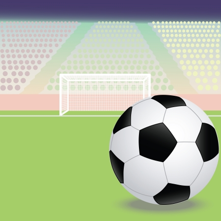 greenfield: illustration of a soccer, football field with soccer ball in the foreground  Illustration
