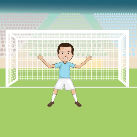 illustration of a goal keeper standing in front of a soccer goal  Vector