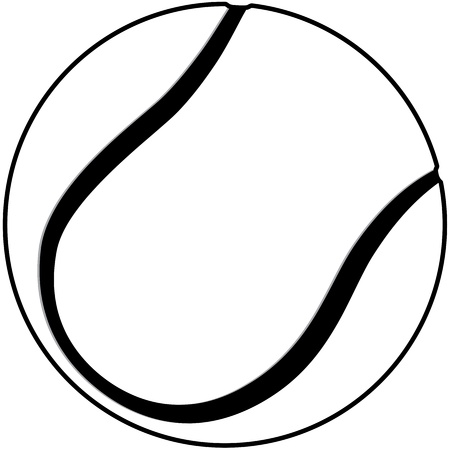 tennis ball: illustration of a tennis ball outline isolated in white background