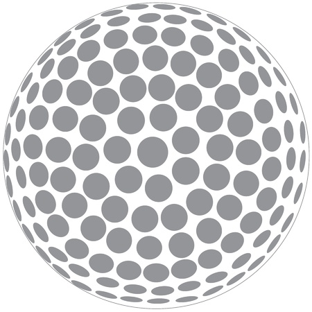 golfball: illustration of a golfball outline isolated in white background Illustration