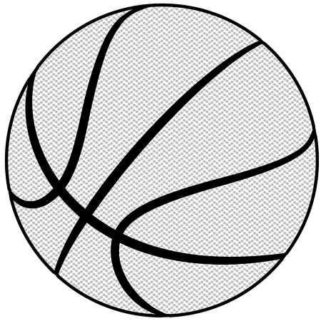 outline drawing: illustration of a basketball outline isolated in white background