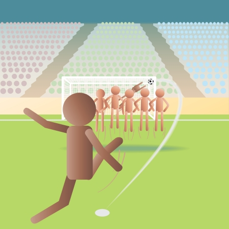 premier league: illustration of a soccer match, football match on a free kick situation  Illustration