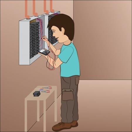 illustratie van een elektricien, technicus het oplossen van problemen in de zekering paneel board Vector Illustratie