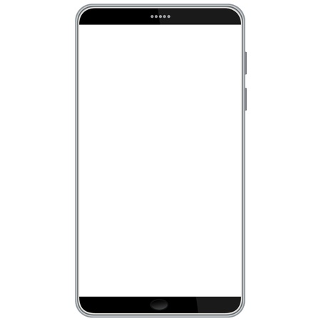 mobile phone screen: illustration of latest smart phone isolated in white background  Illustration