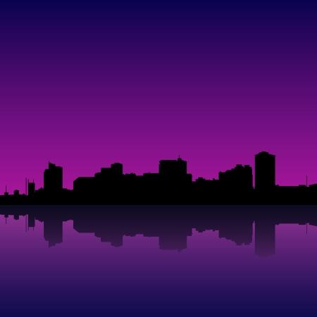 manila: illustration of manila bay skyline, manila cityscape