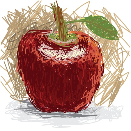 closeup illustration of a fresh apple fruit. Illustration