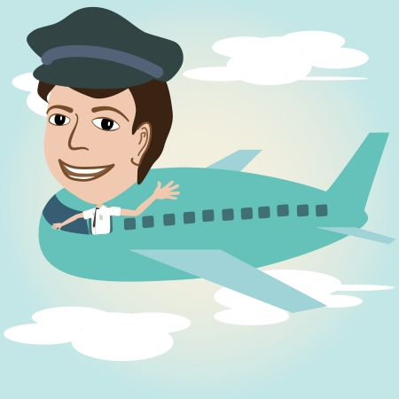 air crew: illustration of a pilot on an airplane above sky.