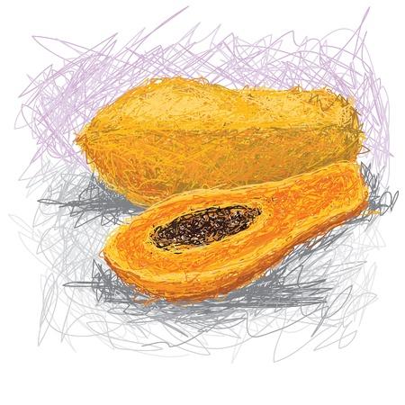 exotic fruit: closeup illustration of a fresh papaya fruit.