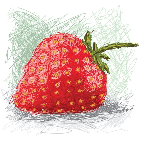 closeup illustration of a fresh strawberry fruit. Illustration