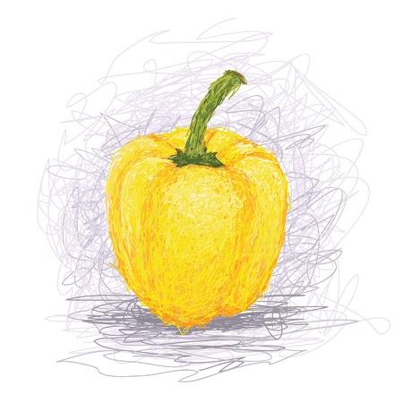 pimento: closeup illustration of a fresh yellow bell pepper vegetable. Illustration
