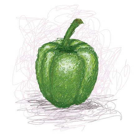 closeup illustration of a fresh green bell pepper vegetable.
