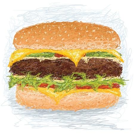 closeup illustration of a huge hamburger meal. Vector