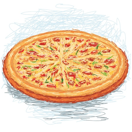 closeup illustration of a whole freshly baked pizza. Vector