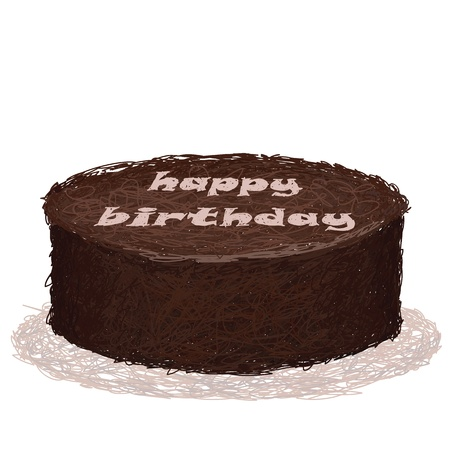 closeup illustration of baked chocolate birthday cake. Vector