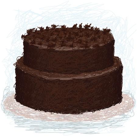 close-up afbeelding van een dubbele laag chocolade taart op plaat met toppings.