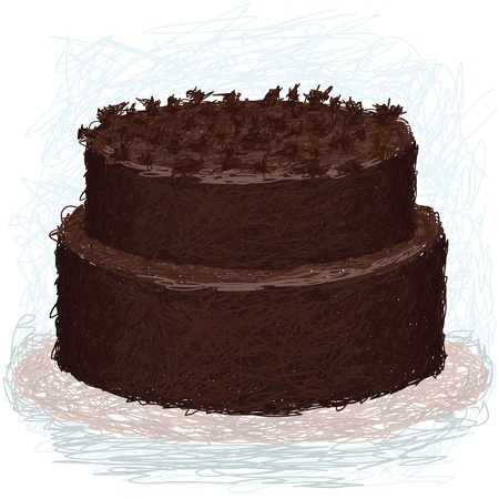 closeup illustration of a double layered chocolate cake on plate with toppings. Vector