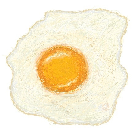 sunny side up: closeup illustration of a freshly cooked sunny side up fried egg.