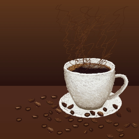 closeup illustration of beans and hot cup of coffee on a plate. Vector