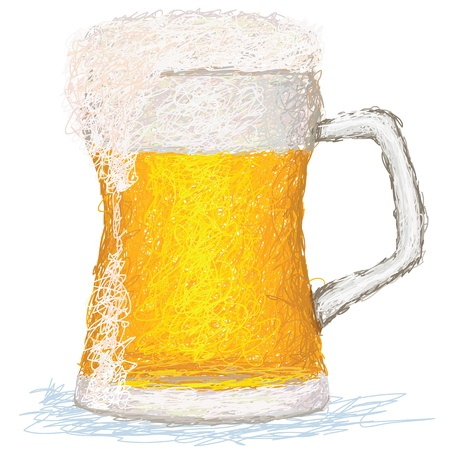 draft beer: closeup illustration of a glass of cold beer.