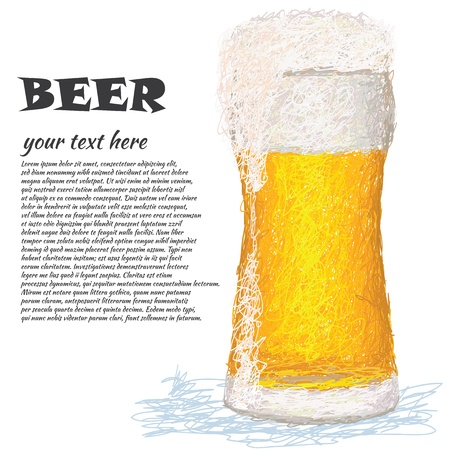 draft beer: closeup illustration of a glass of cold beer with copyspace. Illustration
