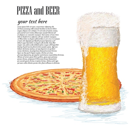 closeup illustration of a glass of ice cold beer and a whole pizza. Illustration