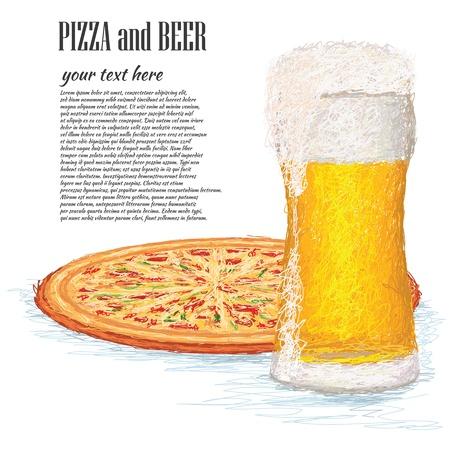 brew beer: primer ejemplo de un vaso de cerveza helada y una pizza entera.