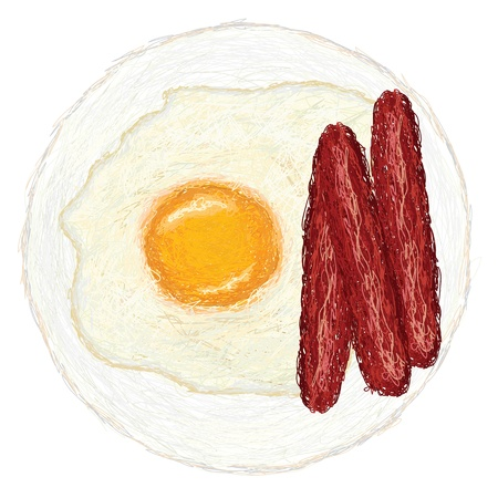 sunny side up: closeup illustration of freshly cooked sunny side up egg and hotdogs.