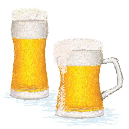 closeup illustration of a glass of cold beer with copyspace. Stock Vector - 14407919