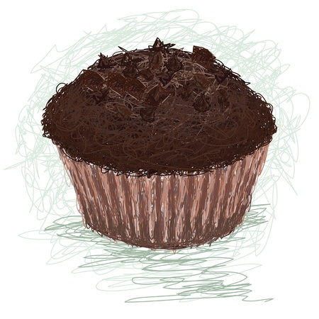 chocolate chip: closeup illustration of a chocolate muffin, cup cake snack.