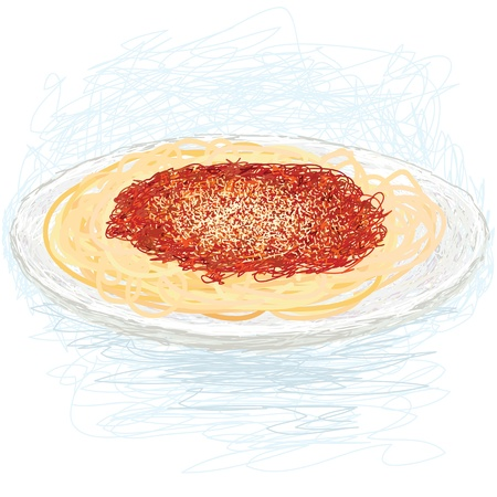 closeup illustration of a freshly cooked spaghetti with tomato sauce and cheese on top. Vector