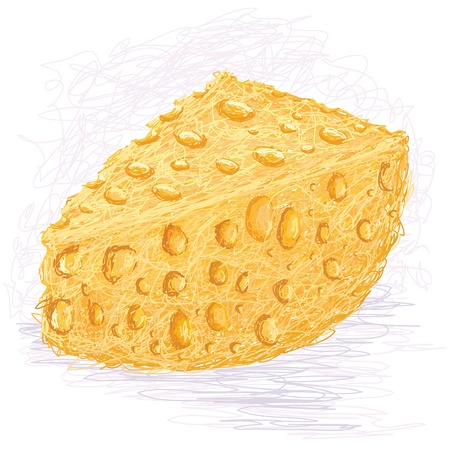 cheese - closeup illustration of sliced cheese. Vector