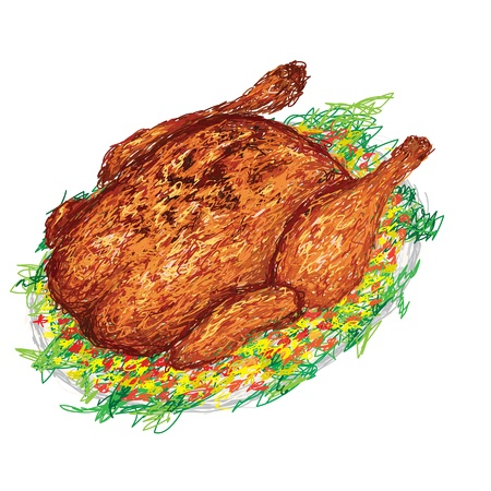 chicken dish: closeup illustration of a freshly roasted chicken in a plate with side dish and vegestables. Illustration