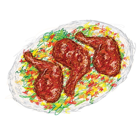 cooked: closeup illustration of a freshly cooked chicken barbecue on plate with vegetable side dish.
