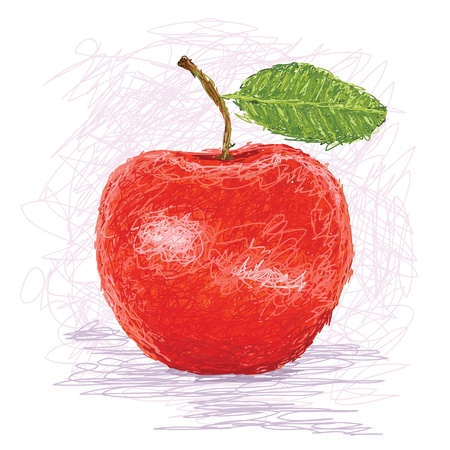 closeup illustration of a fresh red apple fruit. Vector