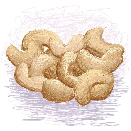 cashew nuts: closeup illustration of stack of cashew nuts.